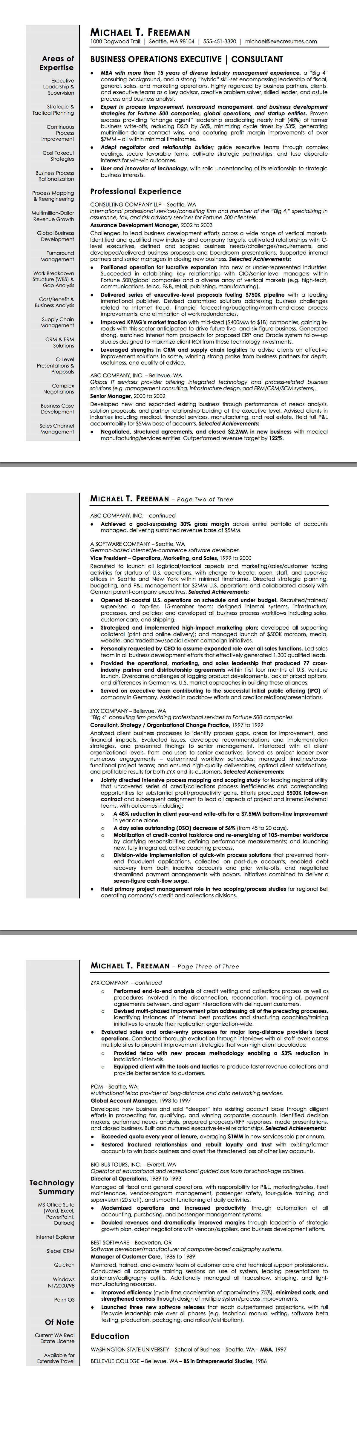 resumepower  sample resume for an executive chef